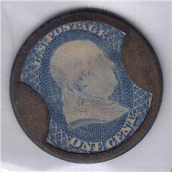 Br 568. Weir & Larminie encased 1c U.S. postage stamp.