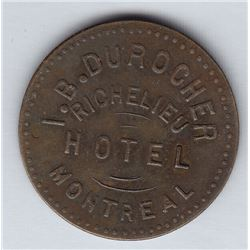 Br 620. I. B. Durocher's Richelieu Hotel token for 5c In Trade.