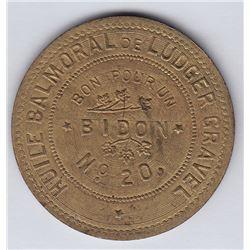 Br 643. Ludger Gravel's Balmoral Token, 1892.