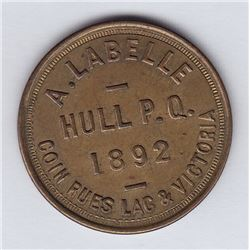 Br 652. A. Labelle's Token, Hull, 1892.