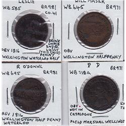 Wellington halfpenny countermarks - Lot of 4