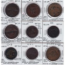 Bank of Upper Canada countermarks - Lot of 9