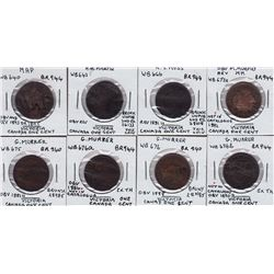 Canada Victoria large cent countermarks - Lot of 8