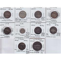 Canada Victoria silver coin countermarks - Lot of 10