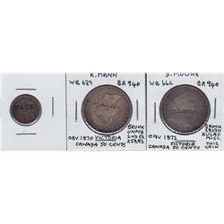 Canada Victoria silver coin countermarks - Lot of 3