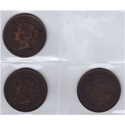 1858 One Cents - Lot of 3