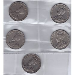 1925 Five Cents - Lot of 5