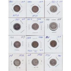 Canadian & Newfoundland Ten Cents - Lot of 12