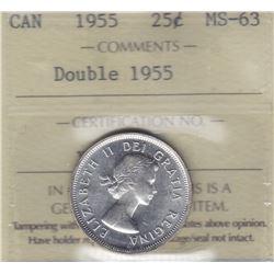 1955 Double Die Twenty Five Cents