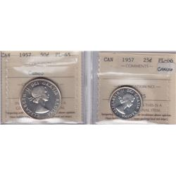 1957 Coins - Lot of 2 ICCS Graded