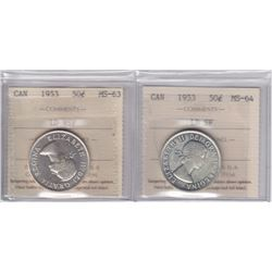 1953 Fifty Cents - Lot of 2 ICCS Graded