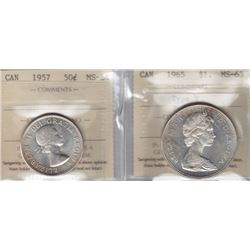 1957 Fifty Cents & 1965 Silver Dollar ICCS Graded Pair