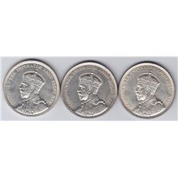 1935 Canadian Silver Dollars - Lot of 3