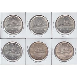 1935 Canadian Silver Dollars - Lot of 6