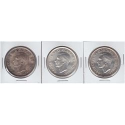 1937 Canadian Silver Dollars - Lot of 3