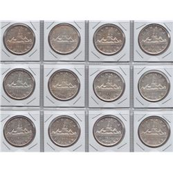 1952 Canadian Silver Dollars - Lot of 12