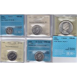 Canadian Graded Coins - Lot of 5