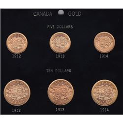 Complete Set of Canadian $5 & $10 Gold Coins