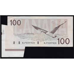 1988 Bank of Canada $100 Fold/Cutting Error