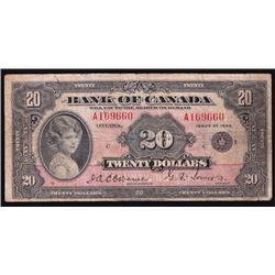 1935 Bank of Canada $20
