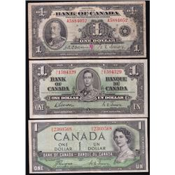 Bank of Canada $1 - Lot of 3