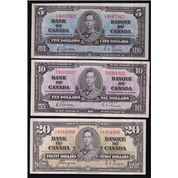 1937 Bank of Canada Notes - Lot of 3