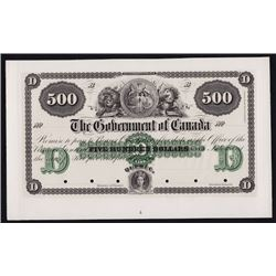 186_ Government of Canada $500 Quebec Bond Plate Proof