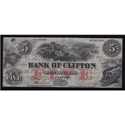 1859 Bank of Clifton $5