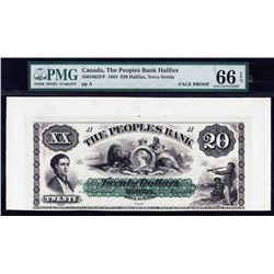 1864 Peoples Bank Twenty Dollars Proofs
