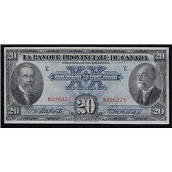 1928 La Banque Provinciale Du Canada $20