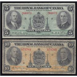 1935 Royal Bank of Canada $5 & $10