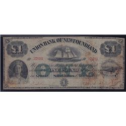1880 Union Bank of Newfoundland £1