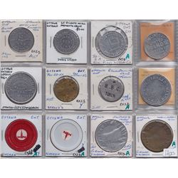 Lot of 12 Miscellaneous Ottawa Tokens