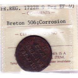 Br 506. 9 Deniers, 1722 H. (La Rochelle).