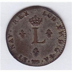 Br 508. Billon Double Sol of 24 Deniers. 1738 A. (Paris).