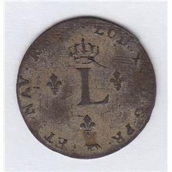 Br 508. Billon Double Sol of 24 Deniers. 1741 A. (Paris).