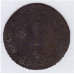 Br 508. Billon Double Sol of 24 Deniers. 1744 A. (Paris).