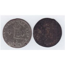 Br 508. Billon Double Sol of 24 Deniers. 1739 C. (Caen).