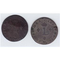 Br 508. Billon Double Sol of 24 Deniers. 1739 G. (Poitiers).