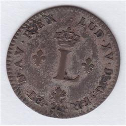 Br 508. Billon Double Sol of 24 Deniers. 1739 H. (La Rochelle).