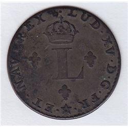 Br 508. Billon Double Sol of 24 Deniers. 1742 H. (La Rochelle)