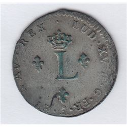 Br 508. Billon Double Sol of 24 Deniers. 1738 P. (Dijon).