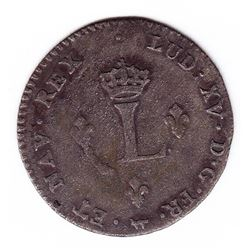 Br 508. Billon Double Sol of 24 Deniers. 1739 W. (Lille).