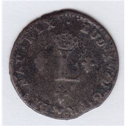 Br 508. Billon Double Sol of 24 Deniers. 1739 BB. (Strasbourg).