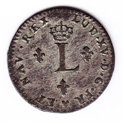 Br 508. Billon Double Sol of 24 Deniers. 1744 BB. (Strasbourg).