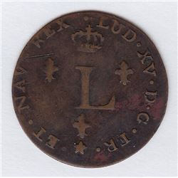 Br 508. Billon Double Sol of 24 Deniers. 1751 BB. (Strasbourg).