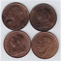 Great Britain One Penny - Lot of 4