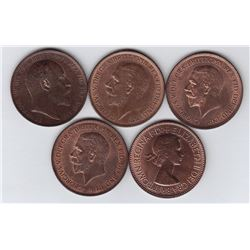 Great Britain One Penny - Lot of 5