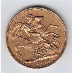 World Gold - Great Britain Gold Sovereign, 1880