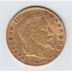 World Gold - France 5 Francs Gold Coin, 1868